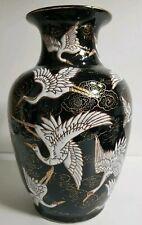 Wunderschön Chinesische Porzellan Vase Asiatika Kraniche Handmade China Schrank