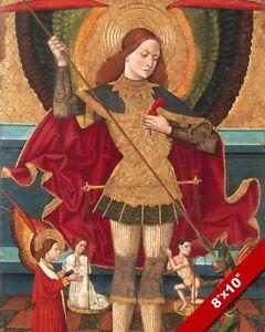 SAINT MICHAEL WEIGHING SOULS PAINTING CATHOLIC HISTORY ART REAL CANVAS PRINT