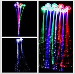 10 LED Fiber Optic Hairclip Light-Up Braid Hairpin Flashing Rave Party Carnival