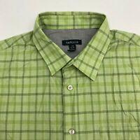 Van Heusen Button Up Shirt Men's Size 16.5 Short Sleeve Green Plaid Cotton Blend