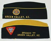 Two Vintage American Legion Wool Envelope Hats ~ Green Valley AZ + 6 Pins