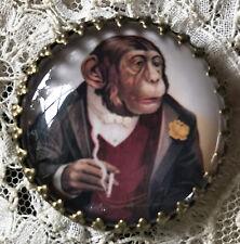 "VICTORIAN MONKEY SMOKING Glass Dome BUTTON 11/4""  Vintage Chimp Cigarette Card"