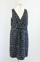 J Crew Wrap Front Dress in Painted Dots Size 12 Black V Neck Polka Dot Blue