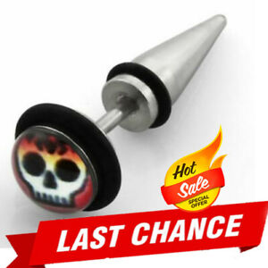 Pair of Steel Illusion Tapers For Pierced Ears Flaming Skull Logo Rubber O-Rings