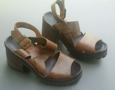 Zodiac Sandals Shoes Leather Mismatched Right 6 M Left 8M Vintage Chunky Heel