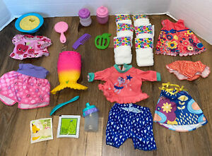 LOT Of Baby Alive Doll Accessories Clothes Bottles Diapers Spoons Banana Bowl