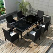 vidaXL 13 Pieces Outdoor Dining Set Poly Rattan Black Glass Table Top Chairs