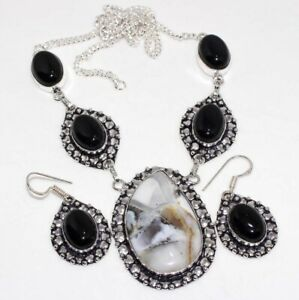 Dendritic Opal Black Onyx 925 Silver Plated Handmade Necklace Earrings Set GW