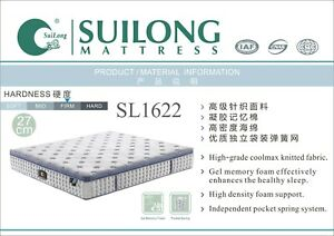 SUILONG 27cm Firm Spring Mattress Coolmax Knitted Fabric Gel Memory Foam