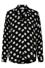 JDY Black and White Polka Dot V-Neck Long Sleeved Shirt Blouse 34 (UK6-8) ASOS