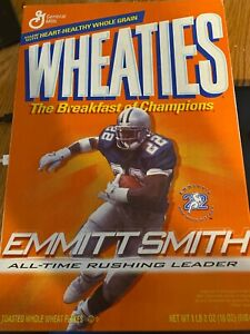 EMMITT SMITH WHEATIES CEREAL BOX NFL ALL TIME LEADING RUSHER VINTAGE SEALED 2002