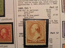 Unused Light Hinge 1883 Two Cent Red Brown Washington * Scott #210