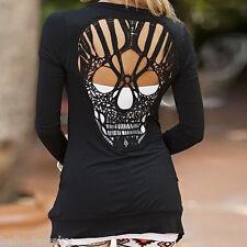 Damen T-Shirt Shirts Tops Oberteile Rücken Durchsichtig Totenkopf M13467