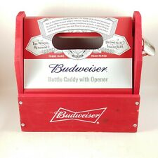New listing Budweiser Wooden Six (6) Pack Bottle Caddy With Opener. New