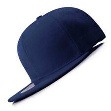 New Navy FLAT Peak SNAPBACK Plain Blank Cap Dancer Hat Chapeau #flat #cap