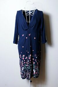 """Size 18 Women's """"Fat Face"""" Navy Floral Dress. Great Condition. Bargain Price."""