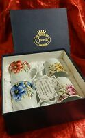 Set of 4 Sorelle Handcrafted Fine Porcelain Floral Cups ~ Yellow Blue Pink Red