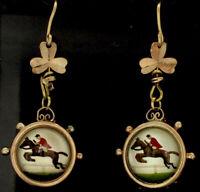 Antik Selten 9CT Ohrringe Essex Kristall Glück Klee Jockey Race Pferd CIRCA1890