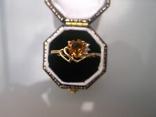 Women's 9ct Gold Diamond & Citrine Stone Ring Size N 1/2 Weight 1.6g Hallmarked