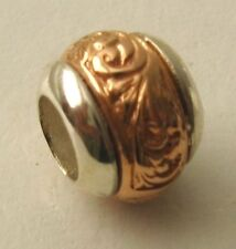 GENUINE SERENITY 9ct SOLID ROSE GOLD & 925 STERLING SILVER CHARM PATTERN BEAD