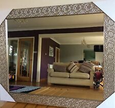 49cm x 59cm large silver mosaic effect Mirror wall hanging bedroom lounge living