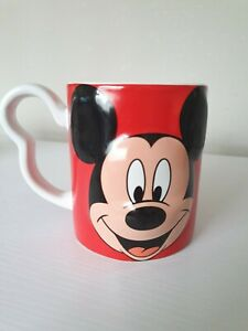 Disney Mickey Mouse 3D Mug Red Monogram Mickey Shaped Handle Coffee Cup