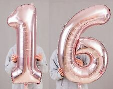 "16th Birthday Party 40"" Foil Balloon HeliumAir Decoration Age 16 Rose Gold lite"