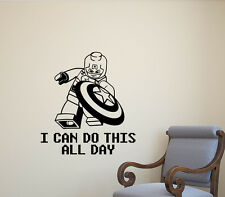 Lego Captain America Wall Decal Quote Superhero Playroom Decor Vinyl Sticker 562