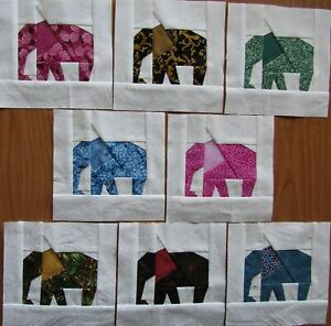 """8 Paper Pieced Different Colorful Elephant quilt block 6"""""""