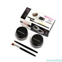 2Pcs Black Brown Color Eye Makeup Waterproof Long Gel Eyeliner Eyeshadow w/Brush