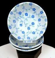 "JAPANESE PORCELAIN BLUE FLORAL AND DOTS 3 PIECE 4 3/8"" FRUIT DESSERT BOWLS"