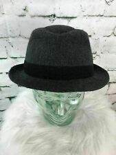 Unisex One Sz Hat Gray Black Belted Wool Blend Classic Fedora