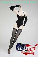"""1/6 Black Arm Warmers Stocking Set For 12"""" PHICEN VERYCOOL Female Figure ❶USA❶"""