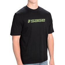Sage Fly Fishing Logo T Shirt - Short Sleeve - Black Color - Size L NEW