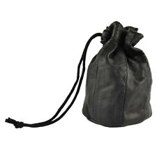 Genuine Leather Drawstring Pouch Coin Purse Wrist Pouch French Style