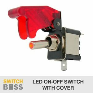 On/Off Toggle Switch RED LED Light w/ Missile Cover Heavy Duty SPST 12V/20A