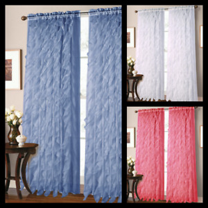 2PC LIVING ROOM VERTICAL RUFFLES PANEL VOILE SHEER FABRIC WINDOW CURTAIN