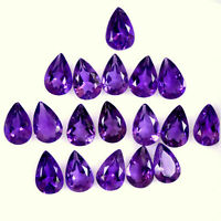 NATURAL PURPLE AMETHYST 6X4 MM PEAR CUT FACETED LOOSE AAA GEMSTONE LOT