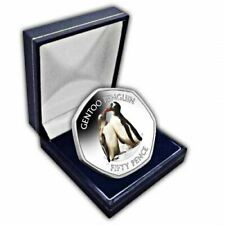 Gentoo Penguin 2019 50p Cupro Nickel Coloured Coin in a box