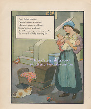 Bye Baby Bunting-Nursery Rhyme-Cat-Mother Goose-1912 ANTIQUE VINTAGE COLOR PRINT