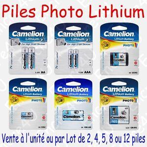 Piles Photo Lithium : AA AAA CR123 2CR5 CR-P2 CR2 ( Vente à l'unité ou par lot )