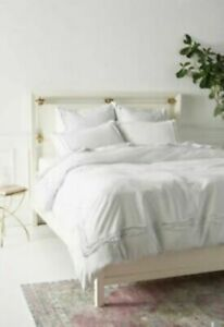 Anthropologie Joey Washed Percale Duvet Cover - Light Gray $238 - Queen NEW