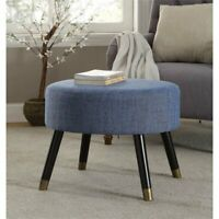 Convenience Concepts Designs4Comfort Mid Century Ottoman Stool in Blue