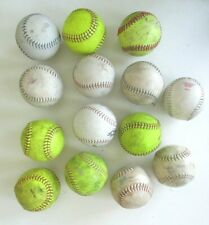 Softballs Lot Of 14 Used 12 inch Practice Balls Mixed Brand Yellow and White