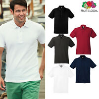 Men's Heavy Cotton Polo Shirt - Fruit of the Loom Button Plain/Casual Top S-3XL