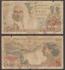 Reunion 100 Francs ND 1947 (VG) Condition Banknote French Rule P-45