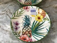 Large Pasta Bowls. Pretty Teal And Yellow Pineapple Design. Set Of 2. CMG. New.