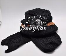 Womens Winter Hat Scarf Set Hoodie Beanie FLOWER Ear Warmer Knitted Cap