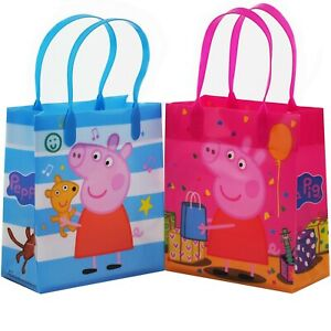12PCS Peppa Pig Goodie Party Favor Gift Birthday Loot Reusable Bags New!