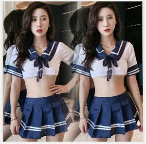 Sexy Women Schoolgirl Uniform Dress Japanese Sailor Suit Cosplay Costume